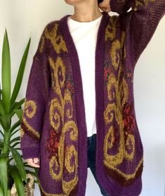 Vintage 90s St Michael Long Purple Cardigan UK Size 16 18 Modern 12 14 Oversized Purple Cardigan, Uk Size 16, Pom Pom Trim, St Michael, Cosy, Knits, Long Sleeve Tops, Retro Vintage, Scoop Neck
