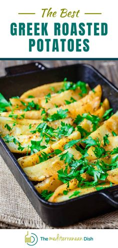 If you're looking to take your roasted potato recipe to the next level, I highly recommend trying these Greek potatoes. Simple and comforting lemon roasted potatoes with fresh garlic. Perfect for a family dinner or feeding all your friends and family! #roastedpotaoes #potatoerecipes #greekpotatoes