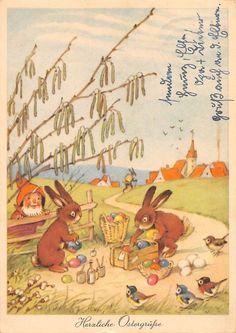 AK Herzliche Ostergrüße Zwerg Hasen bemalen Ostereier Gnom Vogel Künstlerkarte in Sammeln & Seltenes, Ansichtskarten, Motive   eBay