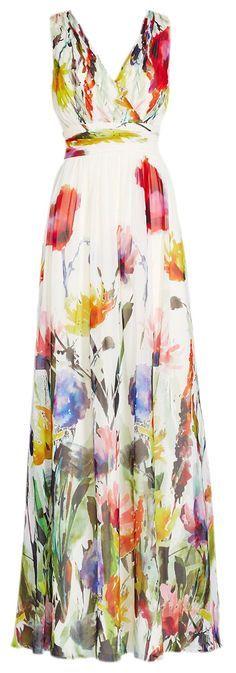 erdbeerloft - Damen Maxi Kleid Sommer Blumen Lang, 34-40, Weiß: Amazon.de: Bekleidung