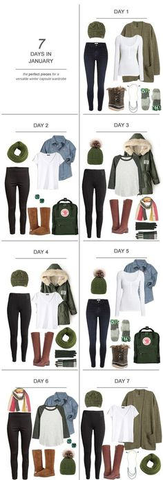 7 Days in January : The Perfect Pieces for a Versatile Winter Capsule Wardrobe #ootd #December #holidays #capsulewardrobe #sahm