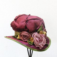Ladies Edwardian Hat Vintage Renaissance Downton Abbey Style Hats for Women Handmade Flowers