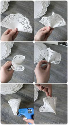 Discover thousands of images about DIY Doily Wreath Tutorial Paper Doily Crafts, Paper Lace Doilies, Doilies Crafts, Wreath Crafts, Diy Wreath, Easy Christmas Crafts, Christmas Wreaths, Wreath Tutorial, Paper Flowers