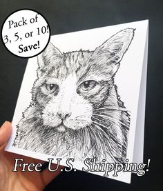 New to Atramentaria on Etsy: Three (3) Five (5) Ten (10) Tabby Cat Greeting Card - Orange Tabby Blank Note Card - Black and White Ink Drawing - free shipping (8.60 USD)