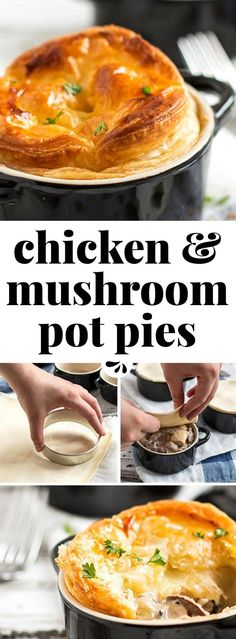 Put a new spin on the classic casserole dinner with these individual mini chicken mushroom pot pies! A quick and creamy filling made from scratch with chicken breasts, sliced mushrooms, milk and butter is hiding underneath a crispy crust with puff pastry. Bake it to golden perfection for the best homemade comfort dinner. This recipe is one of our favorite easy family meals!