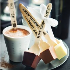 I love the imprinted spoons - just imagine them with personalised messages or positive mantras and affirmations!  That would make for a perfect hot chocolate, don't you agree?