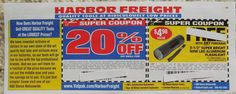 HARBOR FREIGHT Coupons TOOLS Hardware HOME 20% OFF Any Single Item EXPIRES 05.29