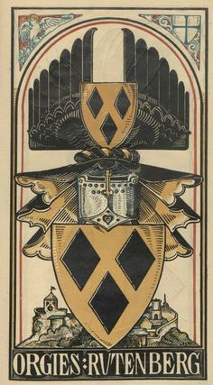 von Orgies genannt Rutenberg (German) -- Baltischer Wappen-Calendar 1902 (Baltic States Coats of Arms Calendar) published in Riga by E Bruhns with illustrations by M. Banner Saga, Landsknecht, Medieval Paintings, Family Shield, Family Crest, Crests, Scrapbook, Coat Of Arms, Middle Ages