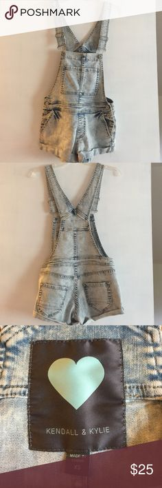 Kendall & Kylie Denim Short Overalls Got at PacSun, gently worn, rolled hem, xs, acid wash Kendall & Kylie Other