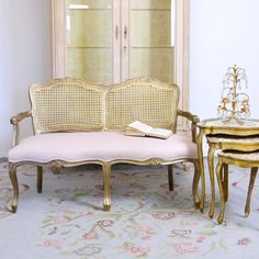 Shabby Cottage Chic Cane Pink Linen Settee Small Loveseat Vintage French Style #LouisXIIIXIVXVXVI