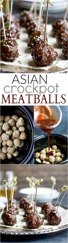 Asian Crockpot Meatballs covered in a sweet and spicy sauce you'll swoon over! This holiday appetizer recipe will be devoured in seconds! | joyfulhealthyeats.com