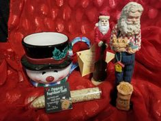 Christmas-Santa-Figures-Reindeer-Food-Snowman-Cup-Hallmark-Boyds-NEW-Lot-of-6