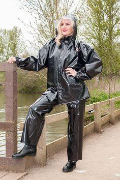 Fetish for plastic rainwear