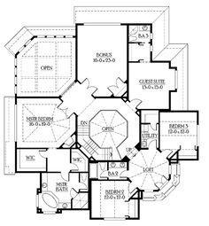 Craftsman Floor Plan - Upper Floor Plan Plan #132-351