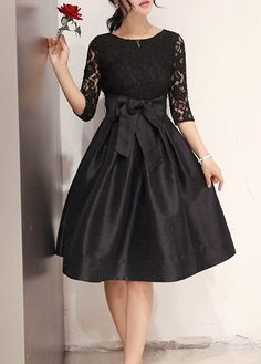 Round Neck Lace Patchwork Black Dress | lulugal.com - USD $26.37