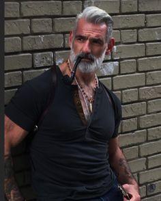 Model and fitness guru, hot pipe smoking daddy bear Beard Styles For Men, Hair And Beard Styles, Hairy Men, Bearded Men, Anthony Varrecchia, Grey Hair Model, Tatoos Men, Handsome Older Men, Grey Beards