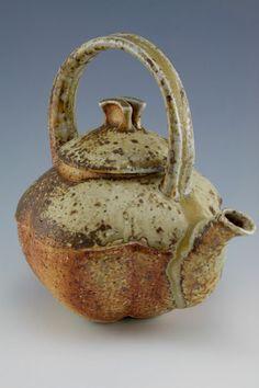 "Simon van der Ven  ETP-001 - Equator Teapot I - 8""h x 7.75""d x 6""w, wood-fired, granite-infused stoneware"