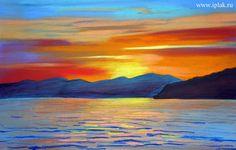 Рисуем поэтапно пастелью морской пейзаж на закате! - Блог - Блог художника Плаксиной Ирины