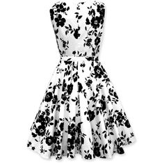 Black Butterfly 'Audrey' Vintage Serenity 50's Dress (White & Black,... ❤ liked on Polyvore featuring dresses, white and black dress, vintage day dress, white black dress, vintage dresses and black and white dress