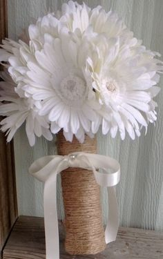Daisy Bouquet wrapped in Natural twine Cream by SilkFlowersByJean, $30.00