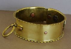 Antique Brass Spiked Dog Collar from antiquepooch on Ruby Lane