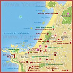 Туристическая карта Биаррица с отелями и достопримечательностями