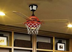 Basketball Ceiling Fan with Custom ProStar Blades and Integrated Light Kit - so cool for a sports themed bedroom!