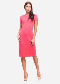 Straight-cut rib-knit dress with short sleeves.  #knitwear  #ss2017