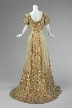 The over-the-top expression of opulence seen in this ball gown worn by a prominent member of the Astor family is a testament to the degree of ostentation required at certain events in order to stand out from the crowd. The dense sequin and bead embroidery on the gown would have created a beautiful shimmering effect.