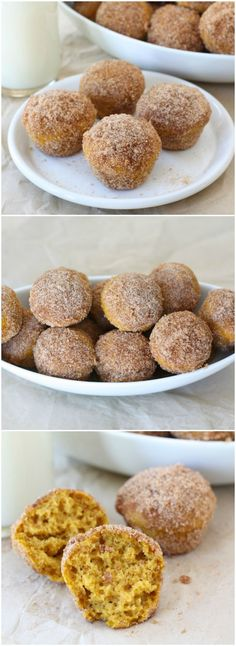 Baked Pumpkin Donut Holes on http://twopeasandtheirpod.com Love these easy donut holes! Perfect fall treat!