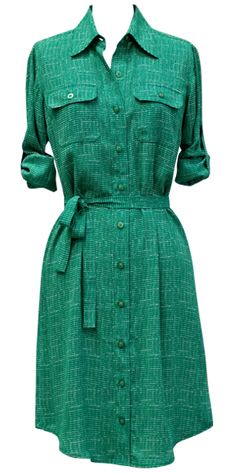 The CAbi Spring '13 Emerald Shirt Dress will transition beautifully with the changing season. This rich, vivid tone is a fashion fall color trend that you can expect to see in the months ahead. Think CAbi Fall 2013 Collection!
