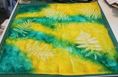 "Sun printed fabric tutorial from ""Bloom, Bake, Create"" Stencil Fabric, Fabric Painting, Fabric Art, Fabric Crafts, Cool Diy Projects, Crafty Projects, Sun Prints, Outdoor Crafts, Creating A Blog"