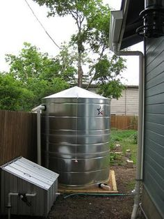 Rain water collection tank. Good article on barrel options.