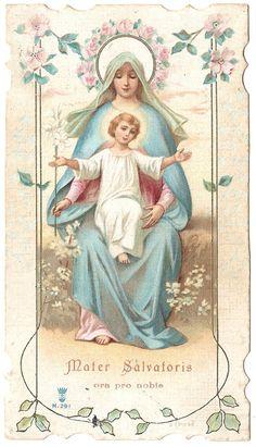 Mother of the Savior & Baby Jesus Antique Latin by 12StarsVintage