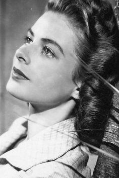 Ingrid Bergman... looking pensive & as always... cinematically lovely. lmr.