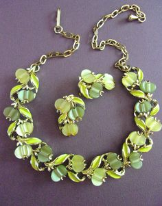Olive Green Thermoset Necklace Earrings Set by RenaissanceFair