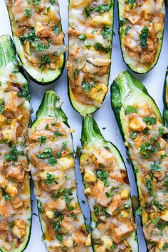 BBQ Chicken Pizza Stuffed Zucchini Boats   Real Food by Dad