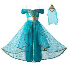 2020 Niñas Princesa Jasmine Disfraz Niños Fancy Dress Up Fiesta Trajes Juegos con disfraces Princess Jasmine Fancy Dress, Princess Jasmine Costume Kids, Princess Dress Kids, Disney Princess Dresses, Princess Costumes, Girl Costumes, Mermaid Costumes, Couple Costumes, Pirate Costumes