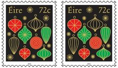 Ireland Christmas stamp depicts numerous types of Christmas decorations.