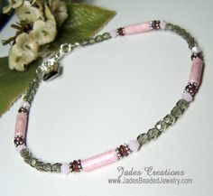 Pink Riverstone & Gray  Beaded Anklet A292