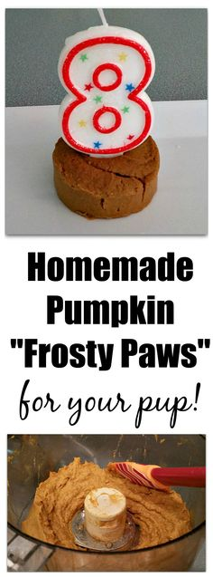 Homemade Pumpkin Frosty Paws for Your Dog! It's the easiest dog treat recipe for the summer. Four ingredients and you have #diy Frosty Paws!