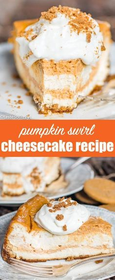Pumpkin Swirl Cheesecake Recipe {with Gingersnap Cookie Crust} Treat your holiday guests to this Pumpkin Swirl Cheesecake recipe with gingersnap crust! A make ahead dessert perfect for entertaining. #AD @realdominosugar @candhsugar