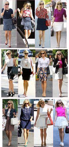 Reese Witherspoon e seu estilo super feminino e delicado.                                                                                                                                                                                 Mais