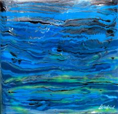 This unique pair of paintings was created using epoxy resin to give a glossy, glass like finish that enhances the colors and provides a 3 dimensional effect. This colorful painting would make a vibrant additional in any space.  Colors - blue, green, black, white, gray Dimensions - 10 inch by 10 inch Depth - 2 inches thick Material - Wooden panel, epoxy resin, acrylic, ink Side - finished with black paint  Signed on front of the painting.  *** Id be happy to make something similar or a pair…