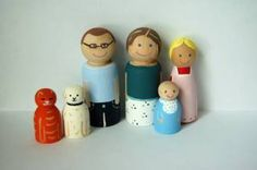 Homemade wooden peg dolls. These would be cute for someone's toddler. I could do the whole family!
