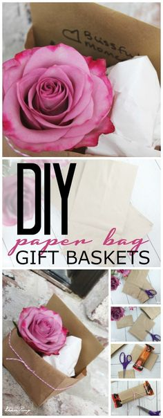 Easy DIY Paper Bag Gift Basket Tutorial for Blissful Moments of Encouragement to Share with Friends and Family! Simple Gift Ideas in less than 5 minutes! Diy Gift Bags Paper, Paper Gifts, Simple Gifts, Easy Gifts, Diy Arts And Crafts, Diy Crafts, Wedding Crafts, Wedding Fun, Wedding Dreams