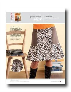 Download Now This file contains pattern pieces only. Project instructions are on page 86 of Stitch magazine Fall 2010. Mix a fun home décor print with a solid fabric in this flattering skirt featuring a modern shape. Because of the seaming of the panels at the front and back, no darts are necessary for shaping.…