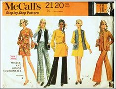 McCall's 2120 Misses Sheath Dress or Tunic, Blouse, Lined Vest and Flared Pants, Vintage Sewing Pattern, Check Listin... Line Jackets, Flare Pants, Sewing Stores, S Star, Vintage Sewing Patterns, Sheath Dress, 1960s, Vest, Tunic