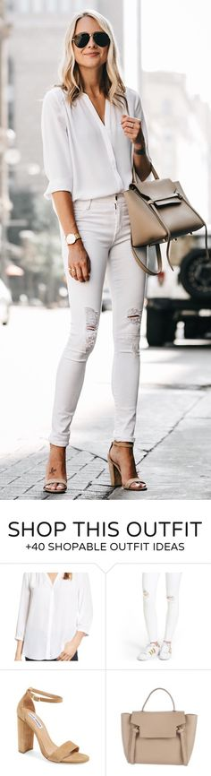 #summer #outfits You Can Never Go Wrong With An All White Outfit - Especially When The Top,jeans, & Heels Are All Under $100!