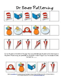 for Author Study-DR SEUSS: Dr. Seuss patterning (and tons of other Dr. Seuss ideas and printables) Dr Seuss Week, Dr. Seuss, Dr Seuss Activities, Book Activities, Sequencing Activities, Preschool Lessons, Preschool Crafts, Dr Seuss Birthday, Birthday Board